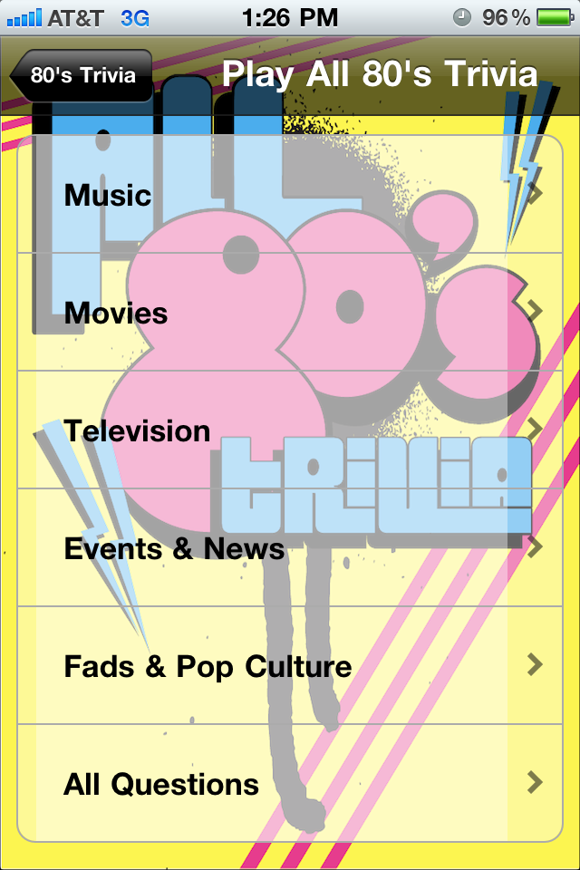 Screenshot All 80′s Trivia