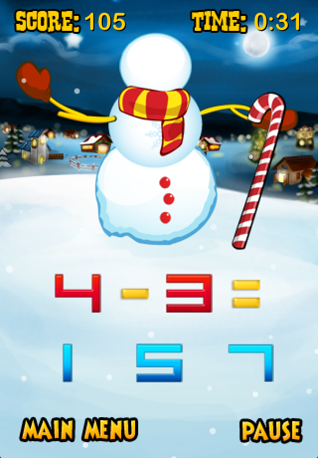 Screenshot Snowman Math (Santa's Village)